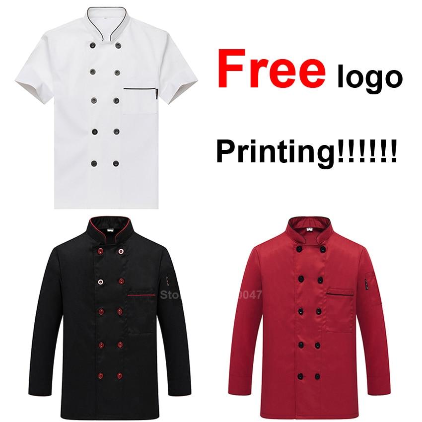 Free Logo Printing Chef Jacket Short&full Sleeve Cook Master Waiter Uniform Cafe Restaurant Bakery Shirt Tops Clothing