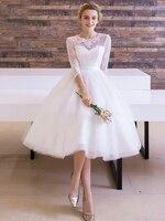 Vintage 1950s Tea Length Wedding Dress 3/4 Sleeve Lace Top Short Bridal Gowns Ribbon Sash vestido de noiva Custom Made Plus Size