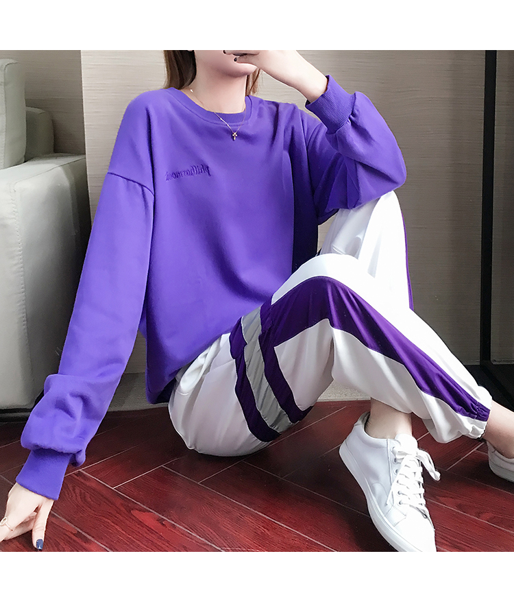 Autumn Winter Purple Two Piece Sets Women Long Sleeve Sweatshirt And Pants Suits Casual Fashion Korean Bf Style 2 Piece Sets 39