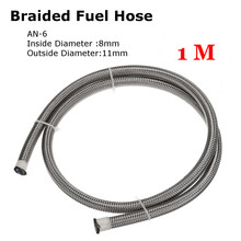 Line Tube-Pipe Fuel-Oil-Line 6AN Hose for Di An-6/6an 8mm 2500-Psi 1-Meter Braided Silver