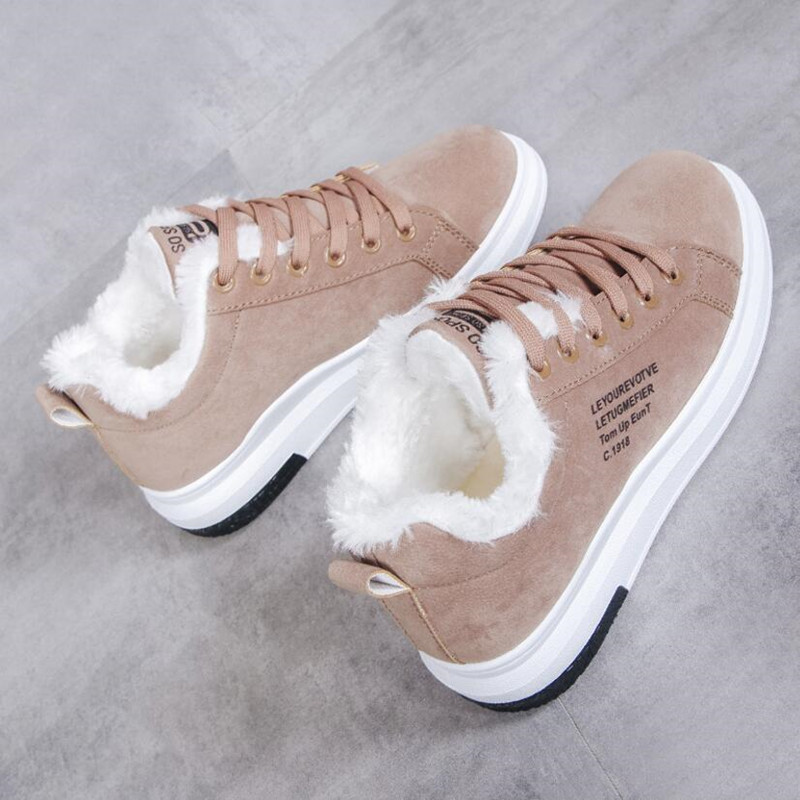 Cotton Shoes Female New Women's Boots Winter Plus Velvet Cotton Shoes Thick-Soled Warm Snow Women's Boots Women's Cotton Boots 6