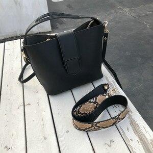 Image 5 - Fashion Women Shoulder Bags Snake Pattern Wide Strap Handbag 2 Pcs/Set Ladies Purse PU Leather Composite Bag Girls Crossbody Bag
