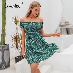 Image 2 - Simplee elegancka sukienka z odkrytymi ramionami dla kobiet mini sukienka w stylu Boho w kwiaty z nadrukiem kobieca sukienka z linii wiosna letnie wakacje plażowe sukienki damskie