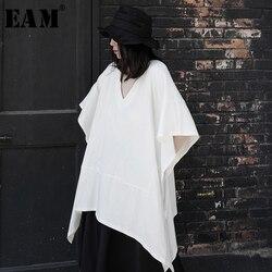 Женская футболка EAM, белая и черная длинная футболка большого размера с треугольным вырезом и коротким рукавом, весна-лето 2020 1W542
