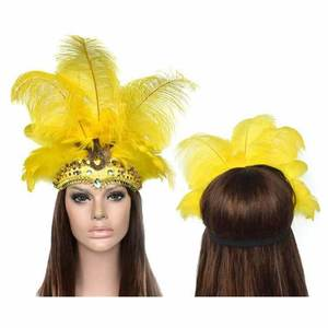 Fantasia Carnival Masquerade Costumes Props Feather Headdress Brazil River Cuba Carnival Party Mask Headwear For Lady Headwear(China)
