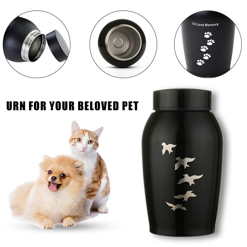 500ML Pets Memorials Gold Black Stainless Steel Pet Urns Urns For Dogs Cat Bird Cremation Ashes Keepsake Urn