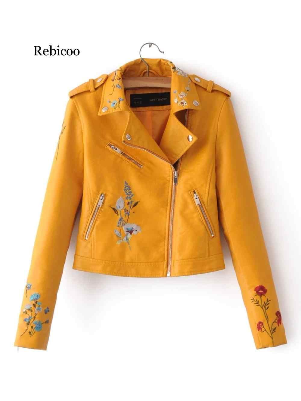 2019 куртка из искусственной кожи ярких цветов модная верхняя одежда на молнии с отложным воротником и заклепками верхняя одежда