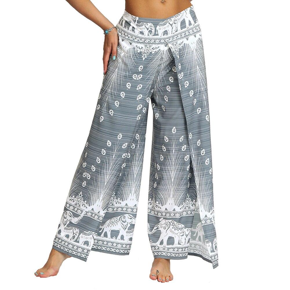 Womens Palazzo Casual Yoga Pants,Slit Wide Leg Pants Casual Beach Boho Vintage Hippie Bohemian Pilate