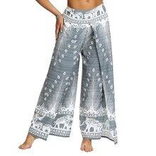 Calças casuais da ioga do palazzo das mulheres, calças largas da perna da fenda praia ocasional boho vintage hippie boêmio pilatos