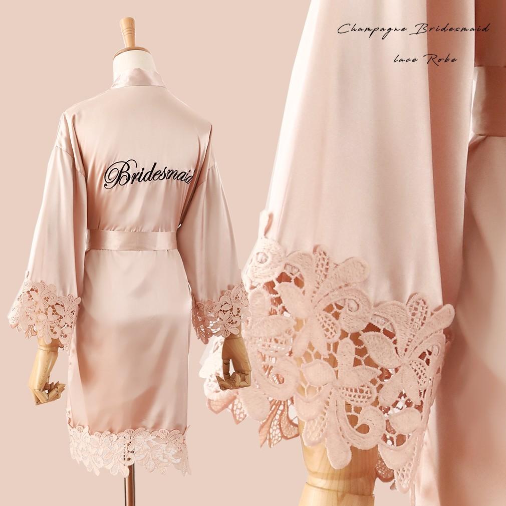Summer Lace Sleepwear Bride&Bridemaid Wedding Robe Gown Solid Embroidery Kimono Bathrobe Women Casual Home Night Dress M L Xl