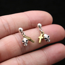 925 Sterling Silver Vintage Skull Earrings jewelry Wedding Stud Earring For Women Men stylish rhinestone skull stud earring