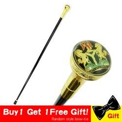 Bâton de marche mode or hommes canne Vintage cannes en métal doré béquille germanique sceptre doré emblème cannes béquille pour hommes 93cm