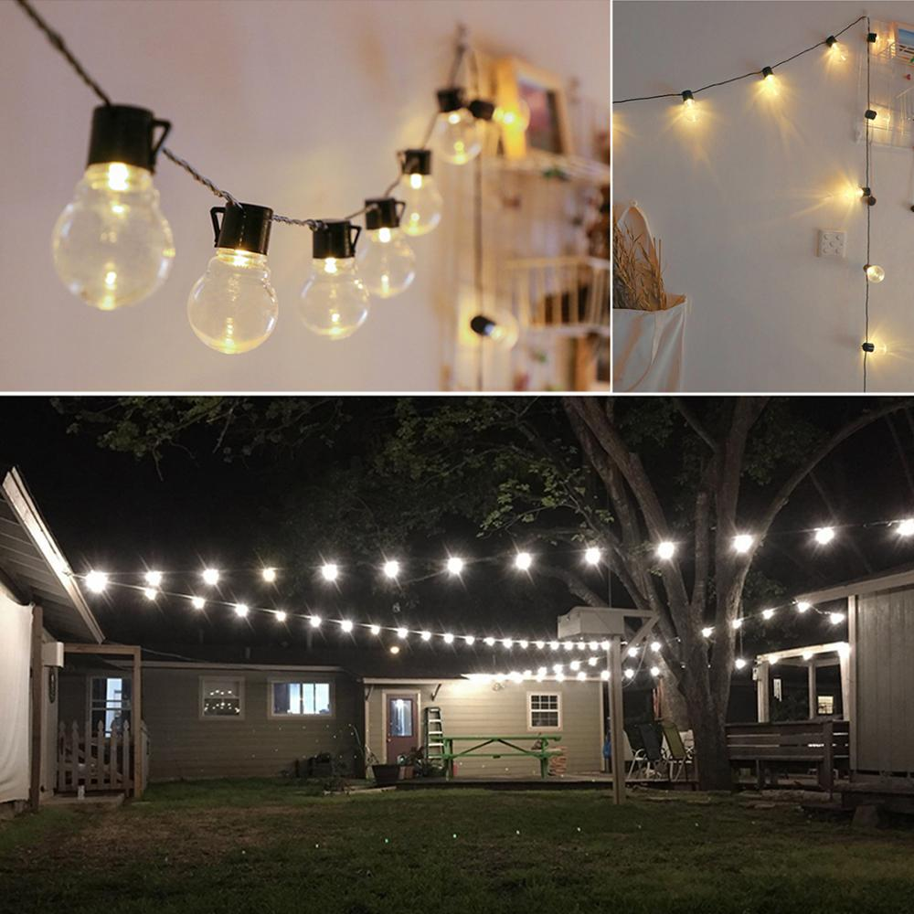 2 5M 5M 10 20 LEDs Bulbs String Outdoor Lighting Waterproof Wall Lamp Wedding Birthday Party