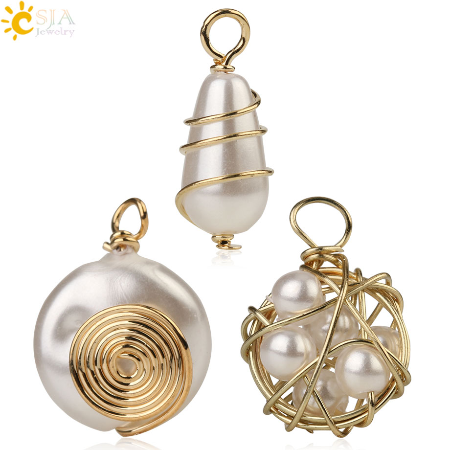 CSJA Freshwater Pearl Copper Wire Wrapped Accessories For Making Necklace Earrings Handmade Charms Women DIY Jewelry Crafts G254