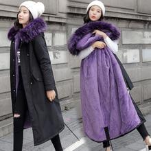 Скидка, сезонная парка, хлопковая стеганая одежда, Женская длинная меховая одежда, имитация кроличьего меха, внутреннее пальто, хлопковое пальто Wi