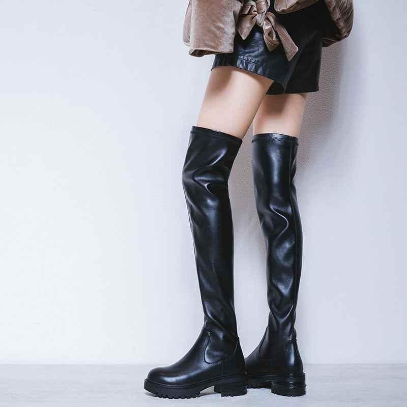 Krazing nồi 2020 da bò Phương đông thiết kế đáy dày Med gót mỏng chân mũi tròn giữ ấm trải dài trên- các-đầu gối Giày L06