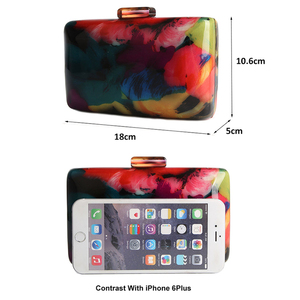 Image 2 - 아크릴 클러치 백 여성 이브닝 백 아크릴 가방 다채로운 인쇄 무작위 패턴 여성 숄더 가방 클러치 지갑 ZD1163