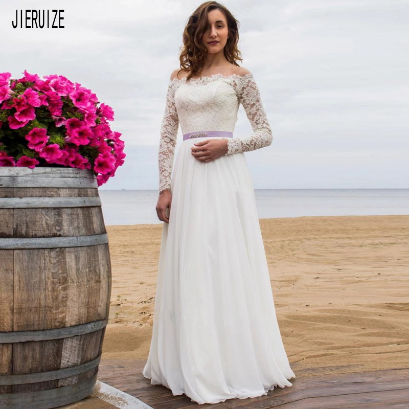 JIERUIZE Wedding Dresses Off The Shoulder Long Sleeves Button Back Purple Crystal Sashes A Line Bride Dresses robe de mariee