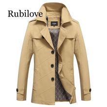 Rubilove 4XL Fashion Medium-Long trench men new spring autumn slim Fit Casual male pure color Pure jackets 4 Colors Windbreaker