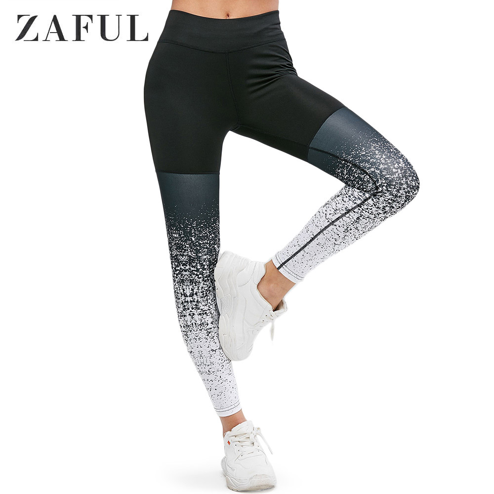 ZAFUL High Waist Leggings Women Speckled Print Sports Daily Athletic Elastic Leggings Solid Casual Bottom Trousers Streetwear