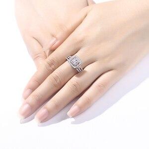 Image 5 - Newshe Conjuntos de anillos de boda de Color oro rosa de Halo de plata 925 sólida para mujer, piedras laterales azules, joyería de lujo BR0760