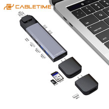 CABLETIME Dual Type C hub 4K HDMI Lan Thunderbolt 3 SD USB3.0 + USB-C Charger PD 9 in 1 adapter Hub voor MacBook Pro/air C043(China)