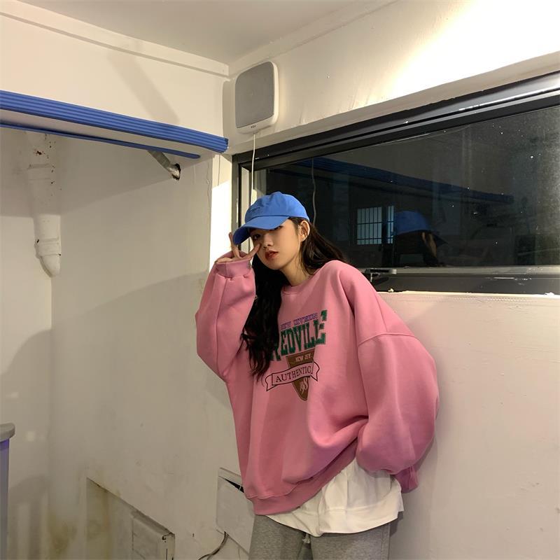 Women's Sweatshirts Japanese Harajuku Ulzzang Loose Letter Printed Sweatshirt Female Korean Kawaii Cute Clothing For Women