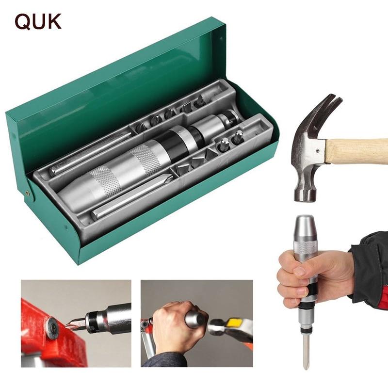 Quk 13 pces impacto driver chave de fenda conjunto bit parafuso driver bits pesados choque afrouxamento congelados parafusos e fixadores teimosos