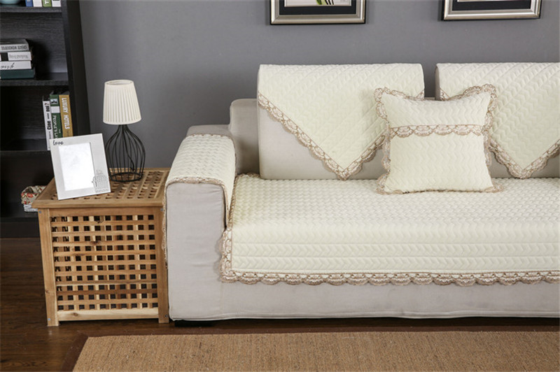 Thick Slip Resistant Couch Cover for Corner Sofa Made with Plush Fabric Including Lace for Living Room Decor 69