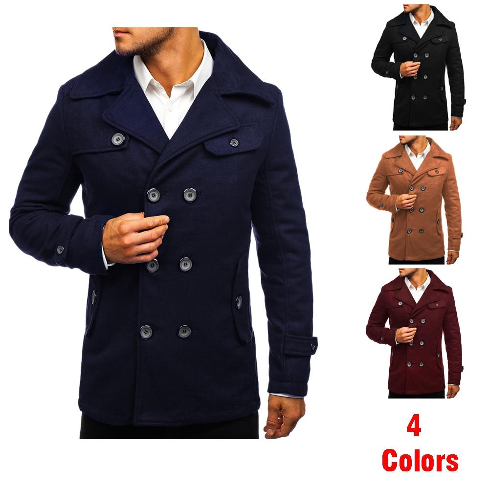 Men's Coat Fall / Winter Warm Trench Coat Outside Button Coat Coat Jacket Casual Fashion High Quality Men's Coat Top