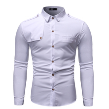 New Fashion Simple Joker White Solid Color Stitching Lapel Men's Long-sleeved Slim Camisa Masculina Shirt