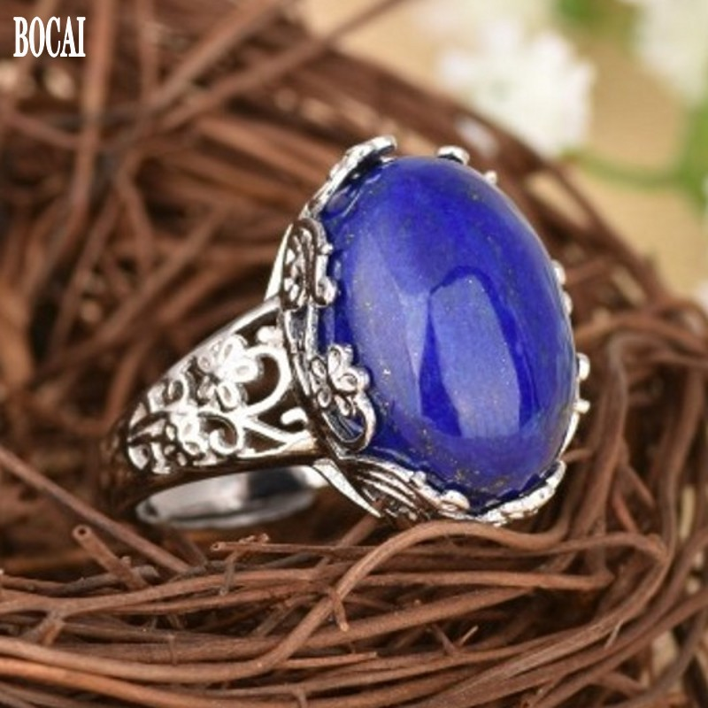 New 100% realS925 <font><b>pure</b></font> <font><b>silver</b></font> <font><b>ring</b></font> <font><b>for</b></font> ladies inlaid with natural Afghan lapis lazuli delicate lace <font><b>ring</b></font> <font><b>925</b></font> <font><b>silver</b></font> woman <font><b>rings</b></font> image