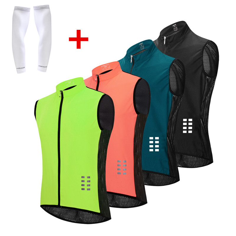 WOSAWE Cycling Vest Reflective Summer Running Sleeveless Hollow out Vest Windproof Mesh Fabric Breathable Clothes