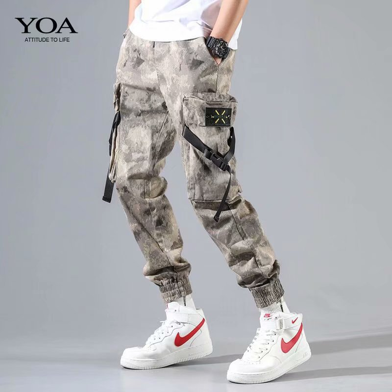 2019 New Style Men Street Desert Camouflage Workwear Pants Korean-style Trend Skinny Loose-Fit Beam Leg