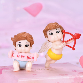 ZOCDOU 1 Piece Cupid Couple Arrow Doll Decoration Bachelor Costume Doll Garden Home Car Desk Crafts Miniatures Decor Ornament image