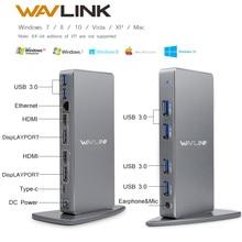 محطة إرساء عالمية USB C من الألمونيوم Wavlink بمنفذ USB 3.0 فائق 5K مزدوج 4K @ 60 هرتز عالي الدقة متعدد شاشة HDMI/Windows إيثرنت جيجابت