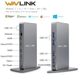 Image 1 - محطة إرساء عالمية USB C من الألمونيوم Wavlink بمنفذ USB 3.0 فائق 5K مزدوج 4K @ 60 هرتز عالي الدقة متعدد شاشة HDMI/Windows إيثرنت جيجابت