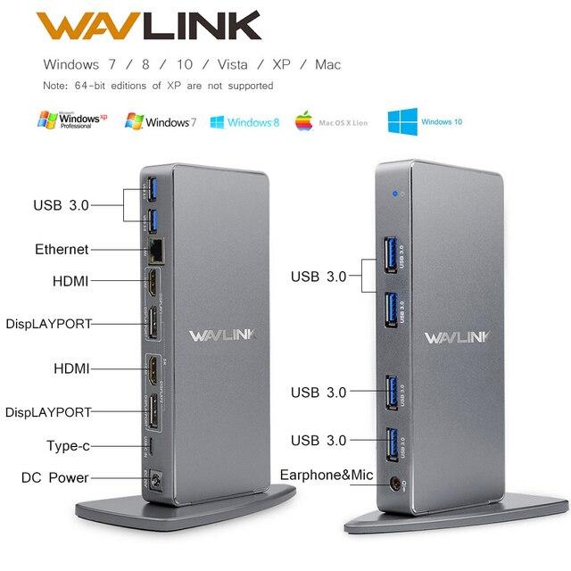 Wavlink אלומיניום USB C אוניברסלי עגינה תחנת USB 3.0 Ultra 5K הכפול 4K @ 60Hz HD תצוגה מרובה HDMI/Gigabit Ethernet Windows