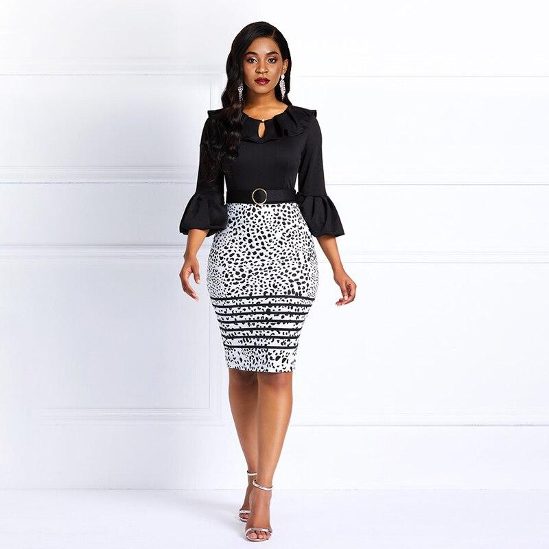Sisjuly Women Midi Dresses Elegant Office Ladies Blue Bodycon Print Flare Sleeve Belt Female Blue Sexy Plus Size Dress