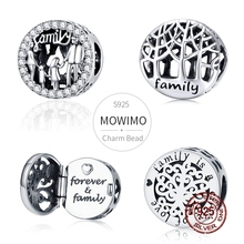 MOWIMO Lucky Family tata mama i syn córka koraliki 100% 925 srebro Charm Fit oryginalna srebrna bransoletka wisiorek biżuteria