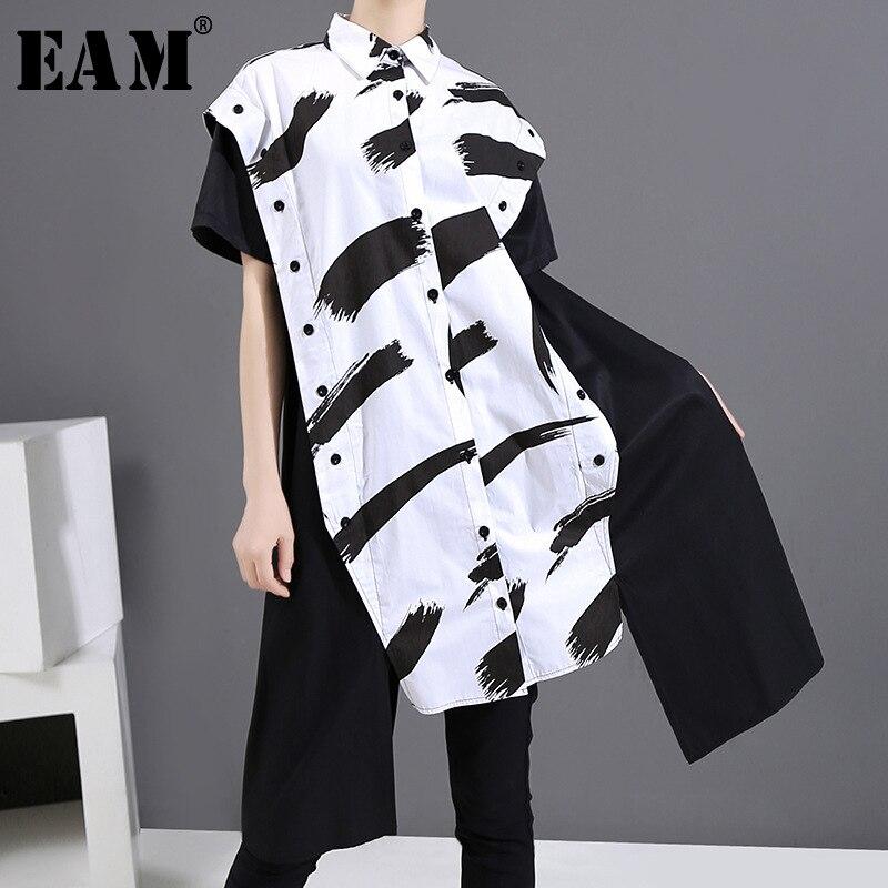 Irregular-Shirt Short Dress New Long-Sleeve Loose Spring Summer EAM Women Fit-Fashion