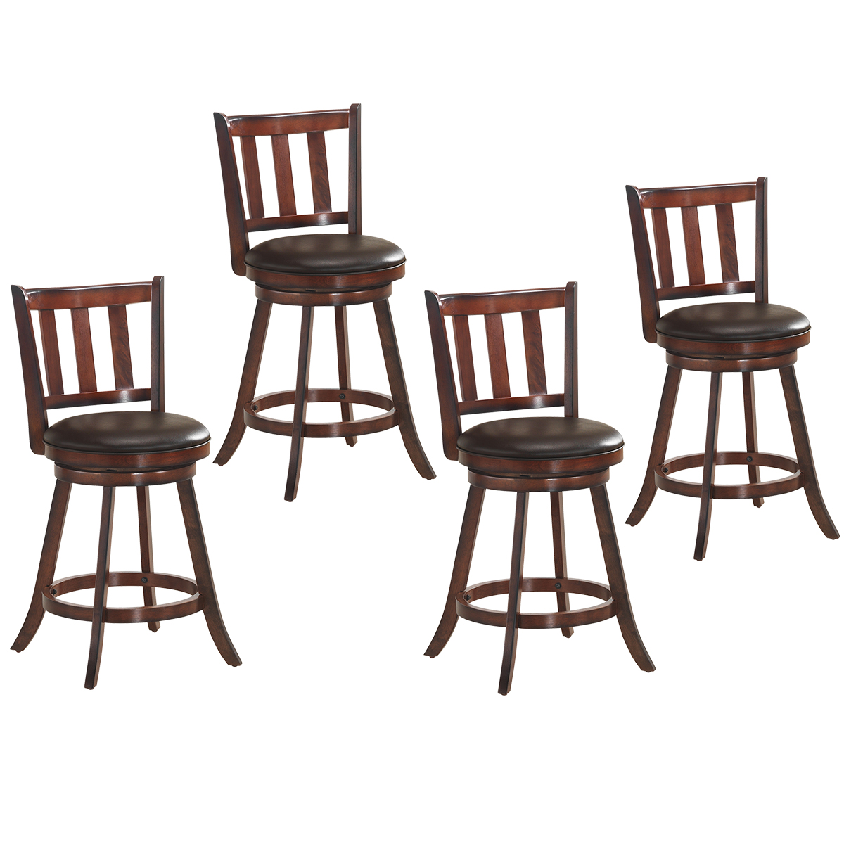 Costway Set Of 4 25'' Swivel Bar Stool Leather Padded Dining Kitchen Pub Bistro Chair