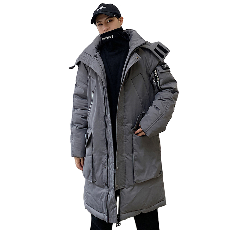 Fashion Winter Jacket Men Hooded Thicken Warm Parka Long Coat Casual Loose Mens Overcoat Cotton Padded Jacket Plus Size M-4XL