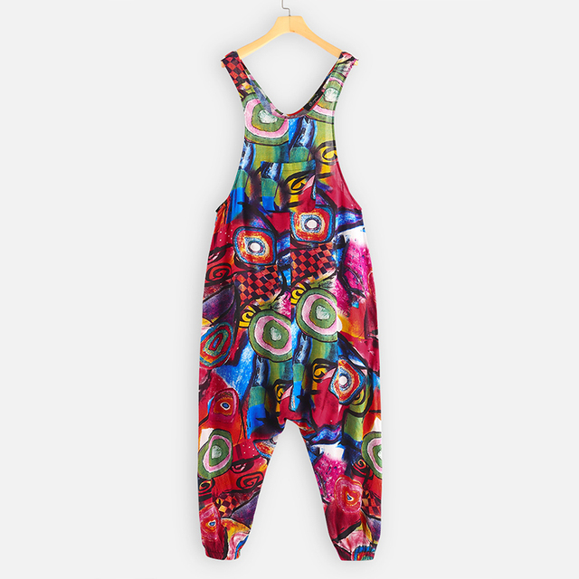 Plus Size ZANZEA Summer Overalls Women Vintage Sleeveless Floral Printed Harem Jumpsuits Rompers Pants Femme Playsuits Dungarees 5