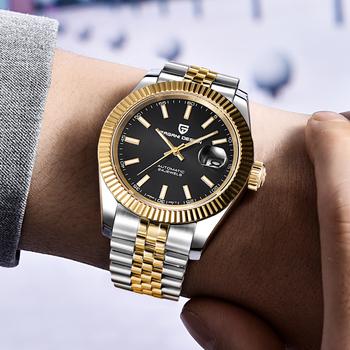 PAGANI DESIGN luksusowy męski zegarek ze stali nierdzewnej wodoodporny zegarek mechaniczny moda sport zegarek mężczyźni automatyczny zegarek relogio tanie i dobre opinie 10Bar Składane zapięcie z bezpieczeństwem Moda casual Mechaniczna Ręka Wiatr 8 66inch STAINLESS STEEL Odporny na wstrząsy
