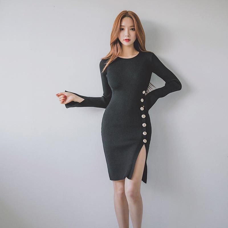 2019 Autumn New Style Women's Korean-style Slim Fit Elegant Mid-length Sweater Dress Base Skirt Sheath Jersey Dress