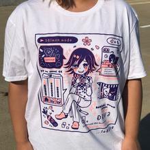 T-Shirt à manches courtes pour femme, vêtement mignon, graphique saumon, Mode Kokichi Ouma, Kawaii, dessin animé ours, cadeau