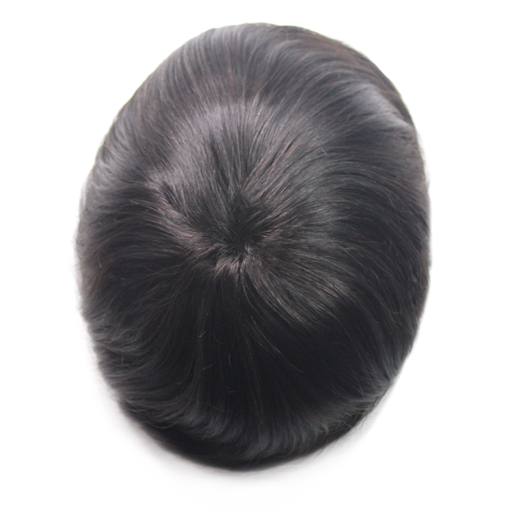 100% Human Hair Toupee For Men Full PU Human Hair Toupee Replacement System Natural Straight 5 Colors