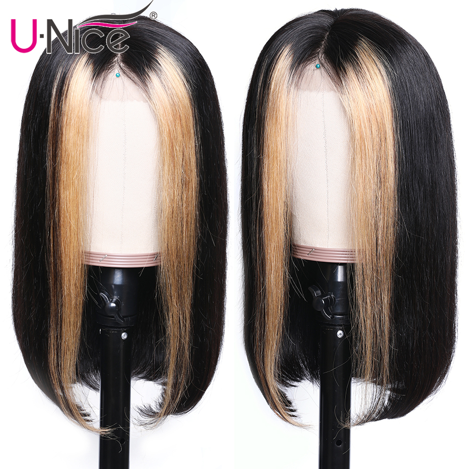 """Hfe15213f8c0d47b682732c421514a66aV Unice Hair 13x4 Highlight Lace Front Human Hair Wigs 8-24"""" Brazilian straight Hair Wigs Remy Human Hair Wigs Half Up Half Down"""
