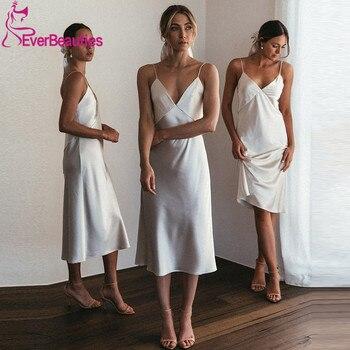 Vestido De Festa Spaghetti Straps Bridesmaid Dresses 2020 V-Neck Satin BacklessRobe Demoiselle DHonneur